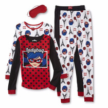 2 Pijama Para Niña Ladybug Miraculous C/antifaz Original