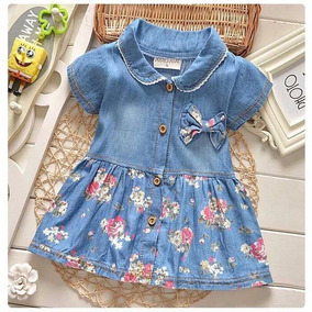 Vestido Bebê Jeans Floral Menina Infantil