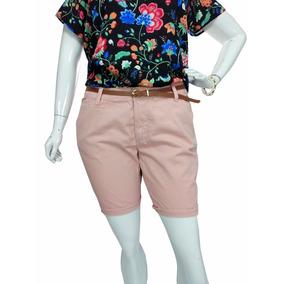 Bermuda Sarja Plus Size Feminina Social Rosé