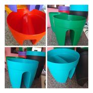 Pack X 3 Macetas Balconera Plastico Reforzado Redonda 25 Cm
