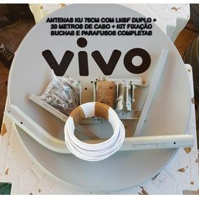20mts De Cabo + 1 Antena 75cm Banda Ku +1 Lnb Duplo+ Fixação