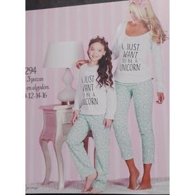 Pijama 3 Piezas Unicornio Para Niña En Algodón 2294