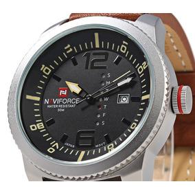 Relógio Naviforce 9063 Pulseira Couro Pronta Entrega