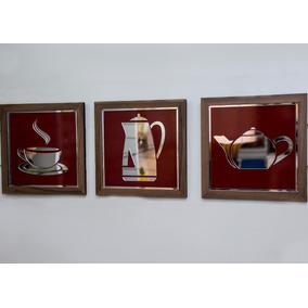Trio De Quadros Decorativos Para Cozinha Em Mdf