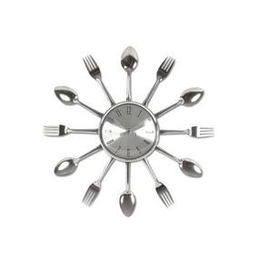 Relógio Parede Cozinha Prateado Formato Talheres Frete