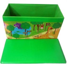 Baú Guarda Brinquedo Quarto Animais Floresta Verde