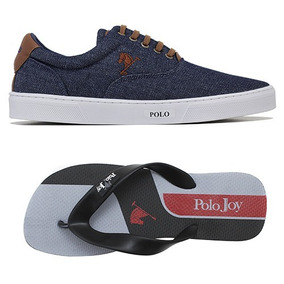 Kit C/ 01 Tenis Sapatenis Polo Joy Masculino C/ 01 Chinelo