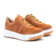 Zapatillas 100 % Cuero Y Gamuza Sneakers Moda Mujer 2021