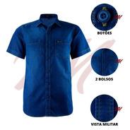 Camisa Jeans Casual Amil 2 Bolsos Tecido Não Amassa 1695