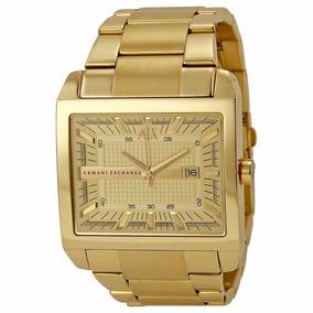 Reloj Armani Exchange Ax2208 Dorado Rectangular Original