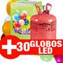 Helio + 30 Globos Led Cilindro Gas Helio Balon De Helio Led