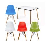 Mesa De Comedor Rectangular + 4 Sillas Eames Color Eleccion