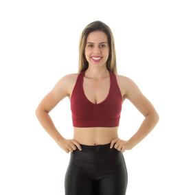 Top Sutiã Sem Costura Fitness Com Bojo Removível Poliamida