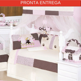 Kit De Berço Menina Ursa Florista - 9 Peças - Luxo
