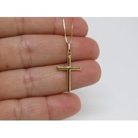 Corrente Masculina Veneziana 80cm + Crucifixo Em Ouro 18k