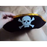 Chapéu Pirata Feltro Acabamento Dourado