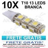 Kit 10 Pingos T10 13 Leds Smd 5050 - W5w - Frete Grátis