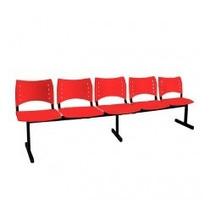 Longarina Iso De 5 Lugares Assento E Encosto Vermelho Tsmob