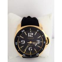 Relógio Masculino Atlantis Dourado Pulseira Borracha Gratis