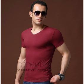 Camisa Camiseta Masculina Viscolycra Elasticidade Gola V