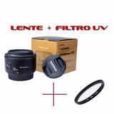 Lente Para Canon Yn 35mm F 2 Yongnuo + Filtro Uv