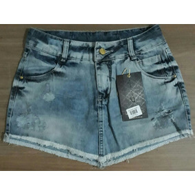 Mini Saia Darlook Jeans De Bico Original