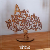 Arbol Angel De La Guarda, Baby Shower, Bautizo, Corte Laser