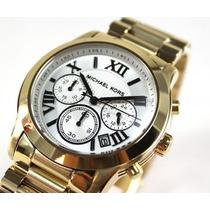 Reloj Michael Kors Dorado Esfera Blanca Mk5916 Nuevo En Caja