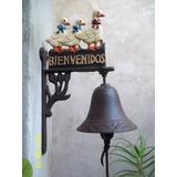 Campana Llamadora Hierro Cartel Bienvenido - Jardin Agus -