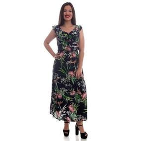 Vestido Longo Estampado Moda Viscose Estampa Flores