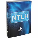 Biblia Estudo Ntlh Brochura Capa Plastica Protetora Azul