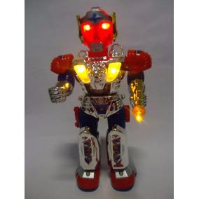 Boneco Robô Metal Fighter Anda Emite Luz Som E Gira 360º