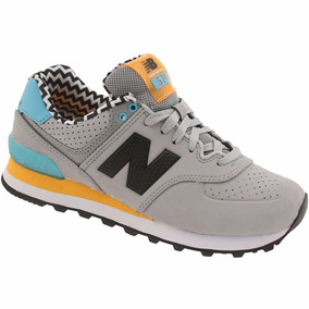 Tenis New Balance Lyfestile Sneakers Wl574aca Grey Orange
