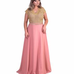 Vestido Longo Plus Size Feito Sob. Medida, Dourado Renda