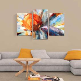 Cuadros Tripticos Grandes En Canvas Flores Abstracto Moderno