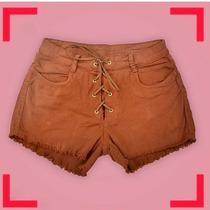Shorts Jeans Feminino Curto Caramelo Desfiado