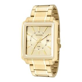 Relógio Technos Quadrado Dourado Masculino Grande 2315yt/4x