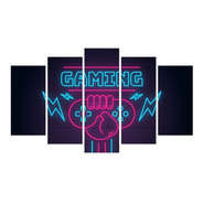 Quadro Gamer Mosaico Decoração 5 Peças Jogos Video Game 05