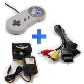 Kit Super Nintendo - Controle, Cabo Av E Fonte 110v