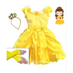 Vestido Festa Infantil Princesa Luxo A Bela E A Fera E Coroa
