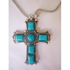 Colar Cruxifixo Grande Imitação Turquesa E Banho Prata