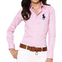 Camisa Social Polo Ralph Lauren Feminina Rosa Pronta Entrega