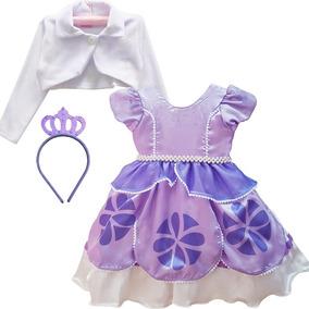 Vestido Fantasia Princesa Sofia Festa Luxo E Coroa E Bolero