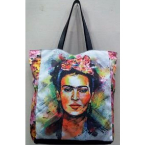 Bolsa Sacola Caveira Frida Kahlo Couro Sarja Bolso Flores
