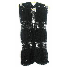 Crochetchile Chaleco Talla S, 100% Lino Negro. Envío Gratis
