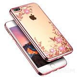 Capa Iphone 6 Plus 6s Plus Glitter Diamante Flores Rose Luxo