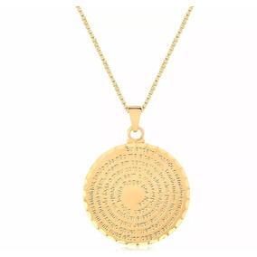 Colar Cordão Medalha Oração De São Bento Folheado Ouro 18k
