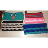 Cartucheras Tejidas Al Crochet, Varios Modelos Y Medidas.