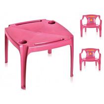 Jogo Mesa Infantil 2 Cadeira Mesinha Educativa Rosa Poltrona