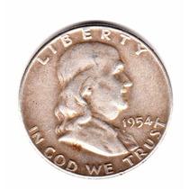 Estados Unidos Usa Half Dollar De Plata 900 Año 1954